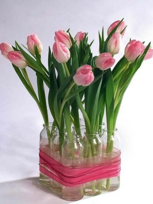frühlingsdekoration mit tulpen selber machen