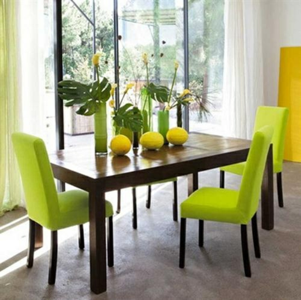 frühlingsdekorationen im esszimmer grün gelb