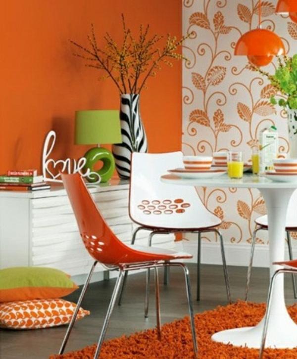 Frühlingsdekorationen Im Esszimmer Orange