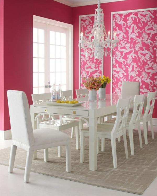 frühlingsdekorationen im esszimmer rosa wände