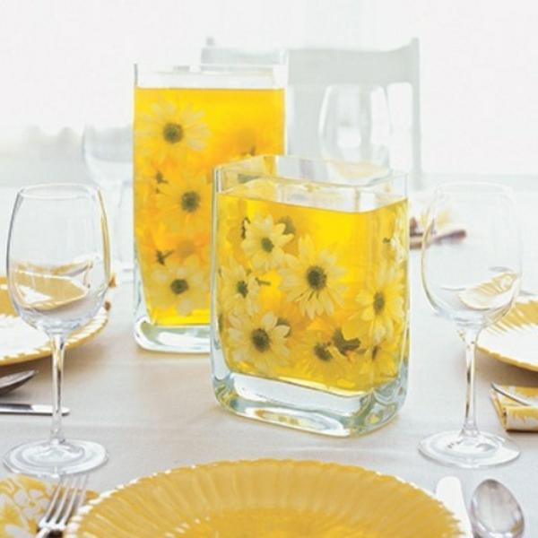 frühlingstischdeko gelb margeriten