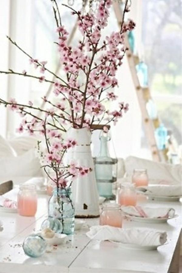 frühlingstischdeko rosa blüten