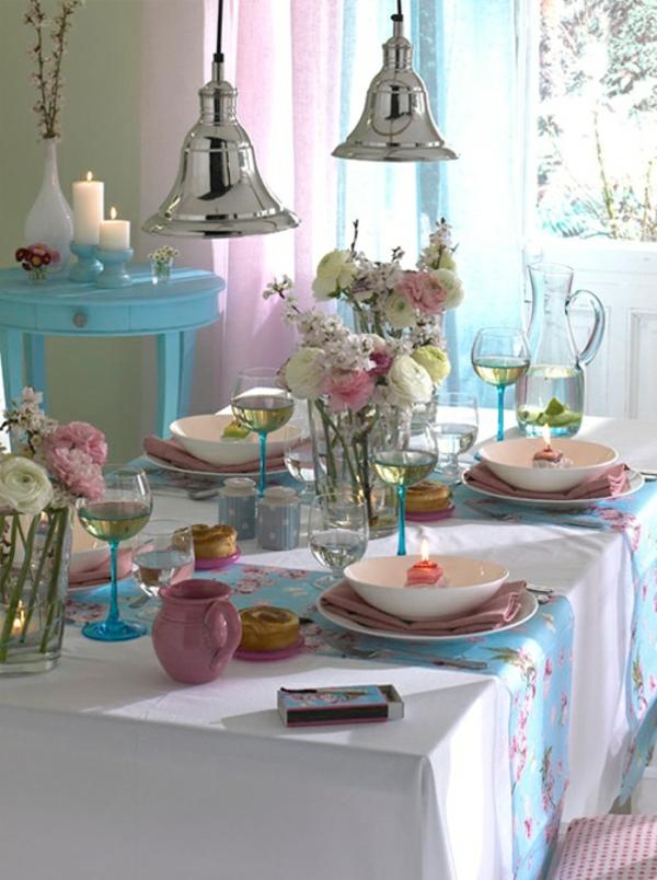 frühlingstischdeko zart helle farben