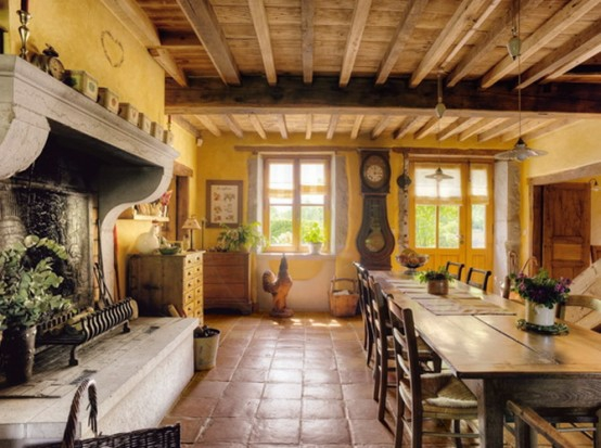 französische esszimmer designs originell gelbe wände