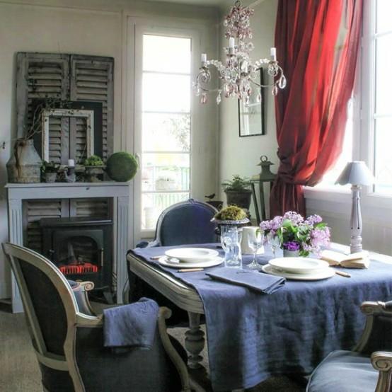 französische esszimmer designs originell idee blau tischdecke