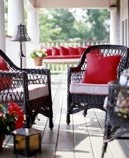 frische veranda deko ideen korbmöbel polstersessel