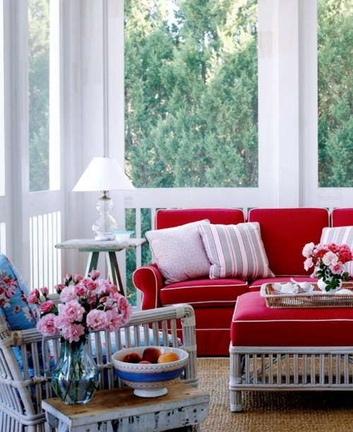 frische veranda deko ideen obstschale frühlingsblumen