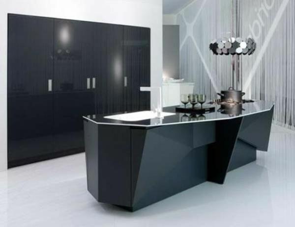 futuristisch schwarz küchenbereich arbeitsplatte dunkel matt