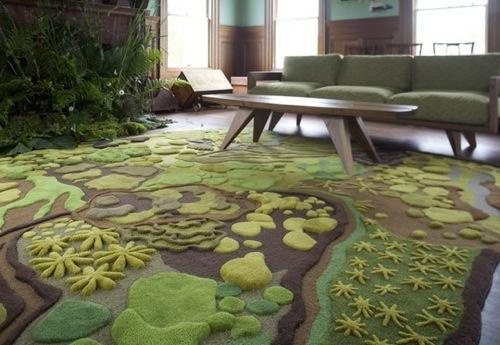 garten im innenraum originell teppich