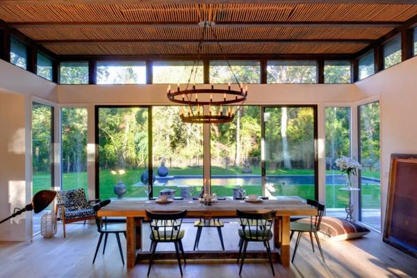 Gastliches Wohnzimmer Interieur Essbereich Glaswände Calderone Design