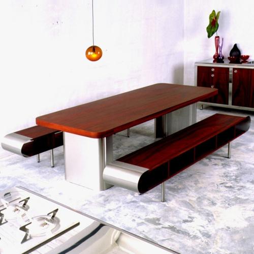 gebogene küchen design holz dunkel sitzbank esstisch