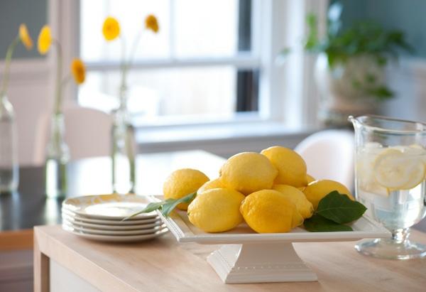 gelb zitronen weiß keramisch geschirr  frisch frühling originell deko