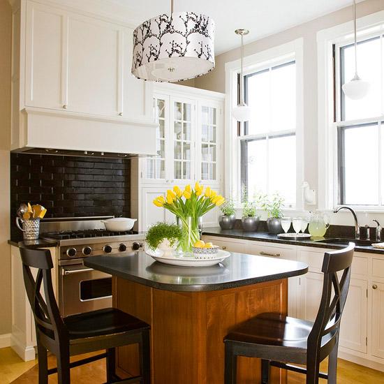 gelbe tulpen holz kücheninsel tisch stuhle