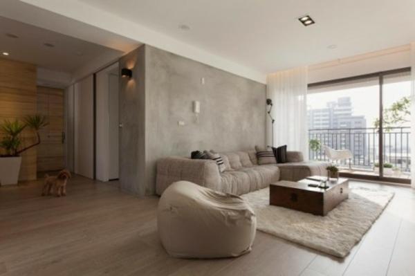 gemütlich industriell wohnzimmer interieur bequem hocker grau farben