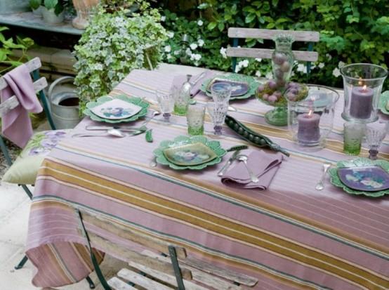 gestreifte tischdecke lila grün idee frisch draußen garten