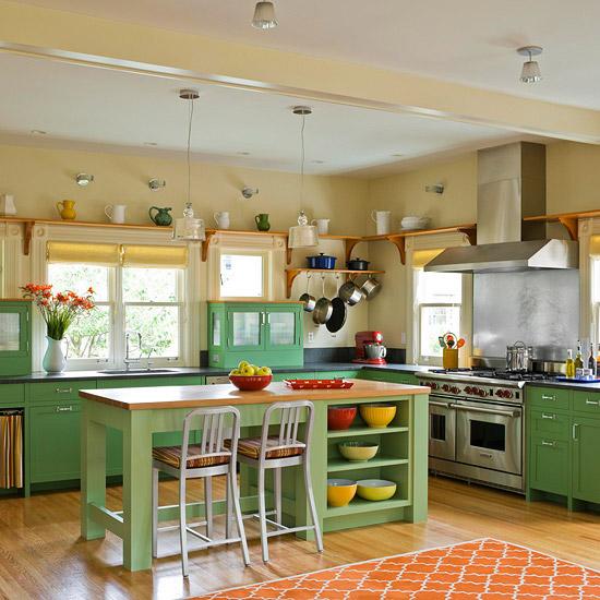 grün orange frisch kücheninsel design