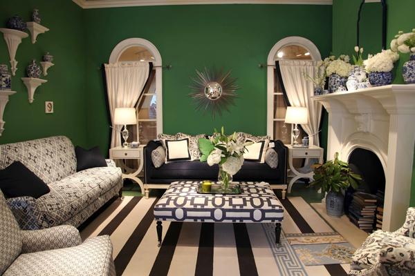 grün smaragd modern einrichtung wände tisch kamin blumen