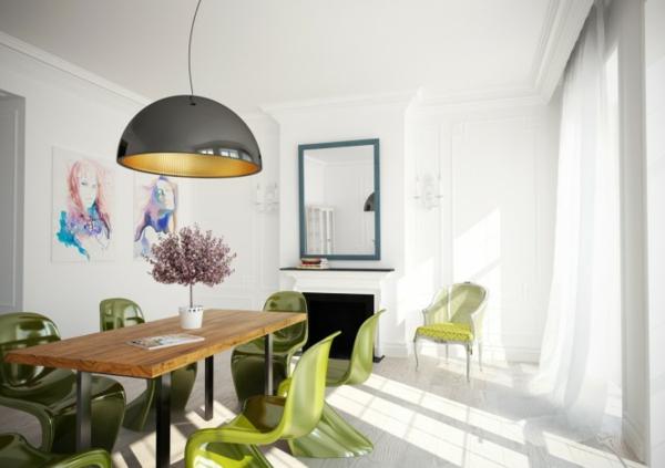 grün-stühle-weiß-wände-esszimmer