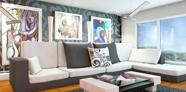farbschema: grau-rosa interieur design ideen - Wohnzimmer Grau Altrosa