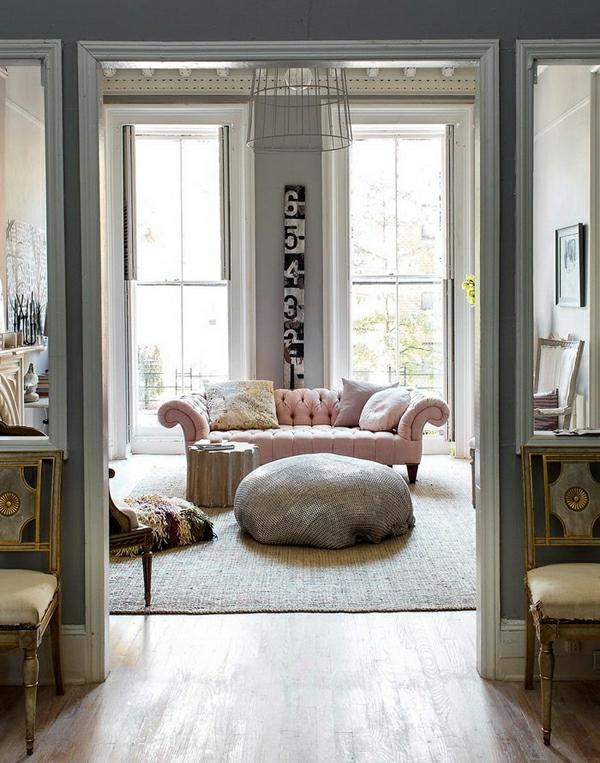 grau-rosa interieur design ideen wohnbereich