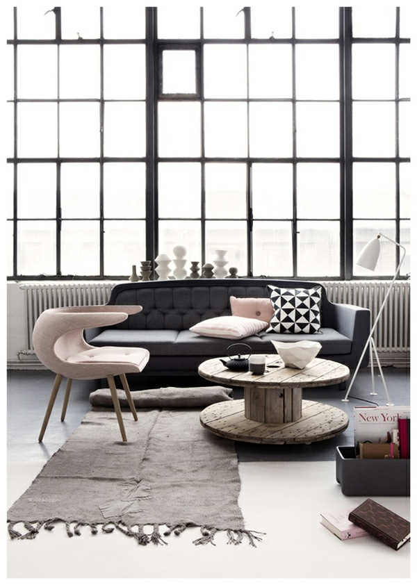 Farbschema: Grau-rosa Interieur Design Ideen Wohnzimmer Ideen Rosa