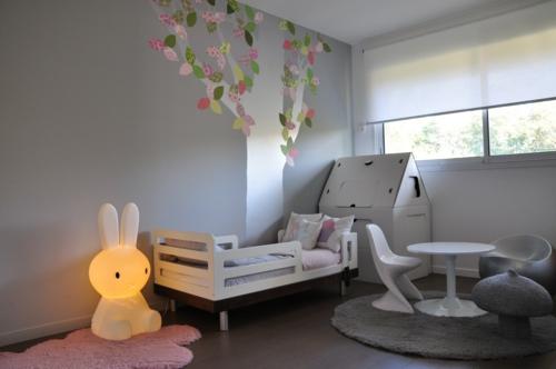 graues kinderzimmer design baby beleuchtungskörper bunny