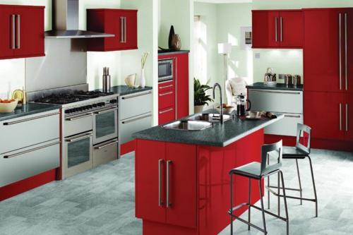 halbinsel küche insel mehrere arbeitsfläche rot weiß