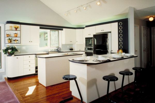 halbinsel küche insel mehrere arbeitsfläche schwarz weiß
