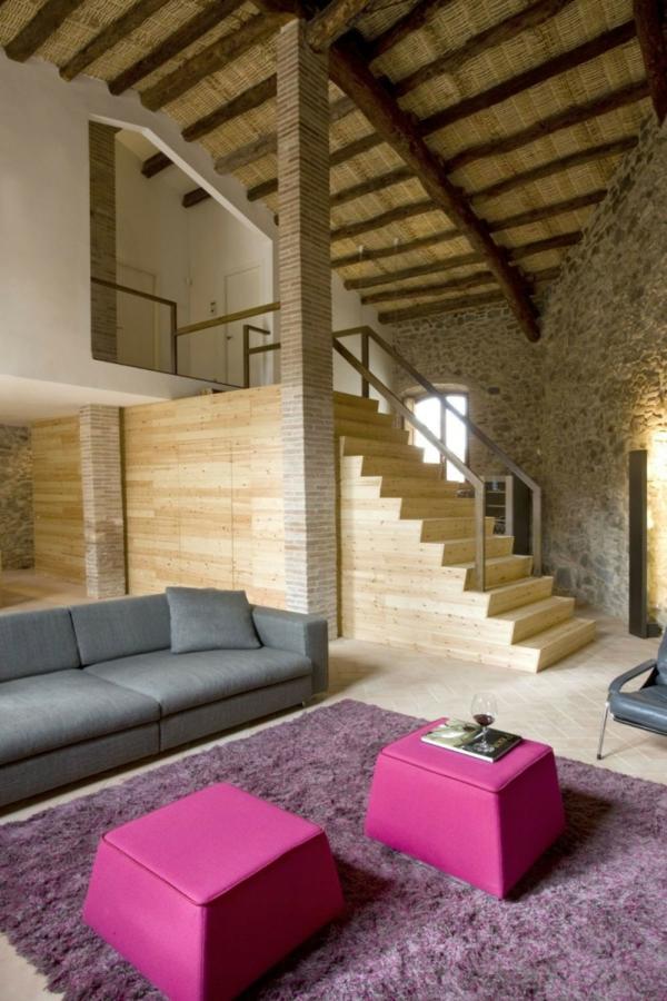 Haus design minim alte windmühle stein holz treppenaufgang