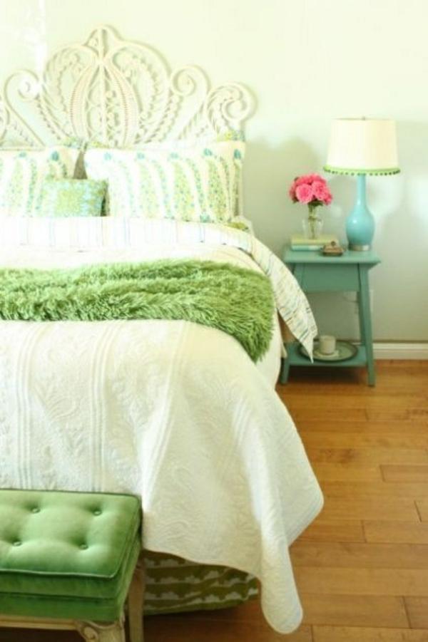 hell grün weiß deko schlafzimmer