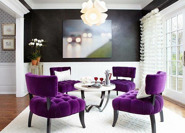 modernes wohnzimmer design - helle, kontrastierende farben - Wohnzimmer Design Lila