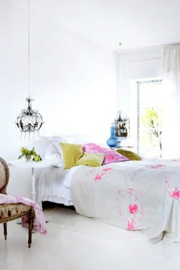 hell schlafzimmer dekoration weiß rosa