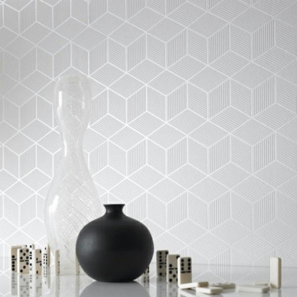 moderne monochrome tapeten mit 3d effekt form und design von graham brown. Black Bedroom Furniture Sets. Home Design Ideas