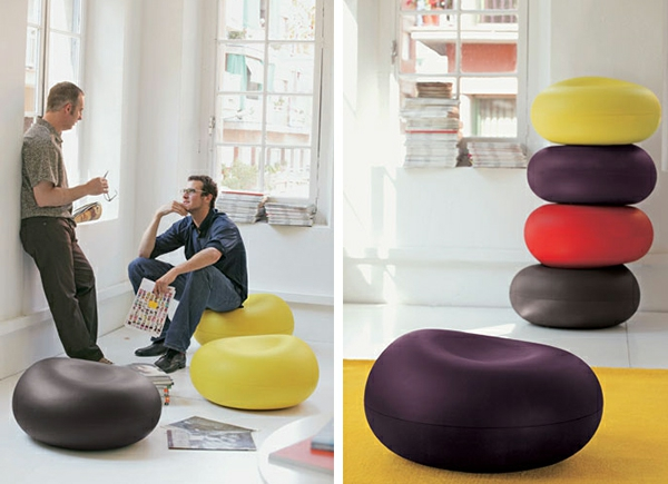 Hellrote Sitzkissen Wohnzimmer Idee Gelb Grau Lila