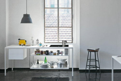 helsinki küche weiß arbeitsplatte hängelampe wunderschön design