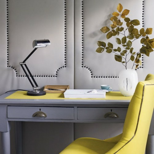home office design lederverkleidung wand