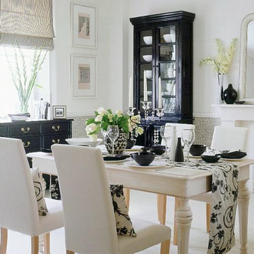 inneneinrichtung in schwarz weiß deko kissen teller gläser