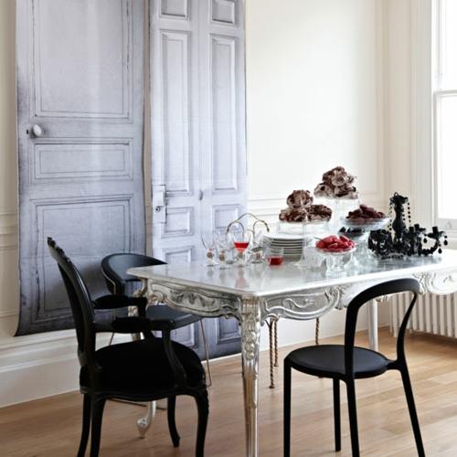 inneneinrichtung in schwarz weiß deko vintage esstisch