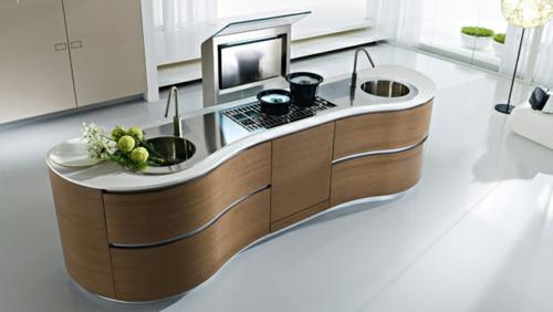 insel küche holz arbeitsplatte form interessant praktisch