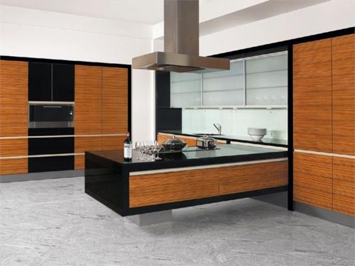 insel küche holz minimalistisch eingebaut
