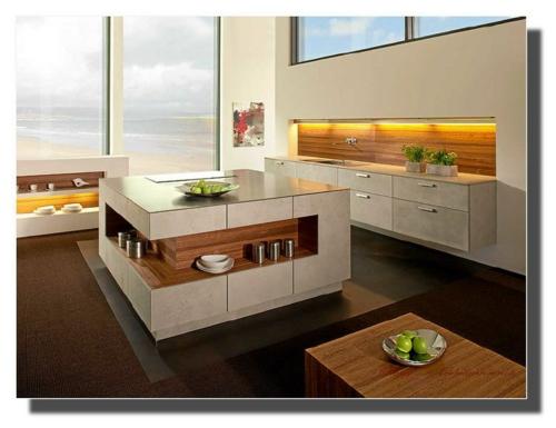 insel küche holz minimalistisch offene aufbewahrungsraum
