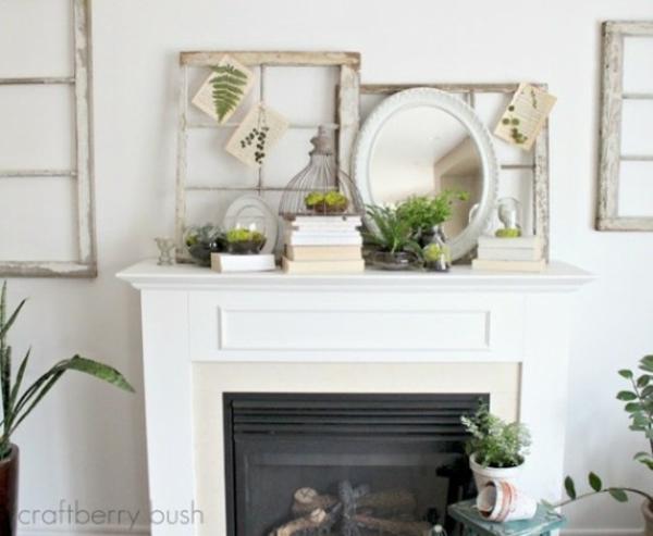 inspirierend deko kamin bücher spiegel