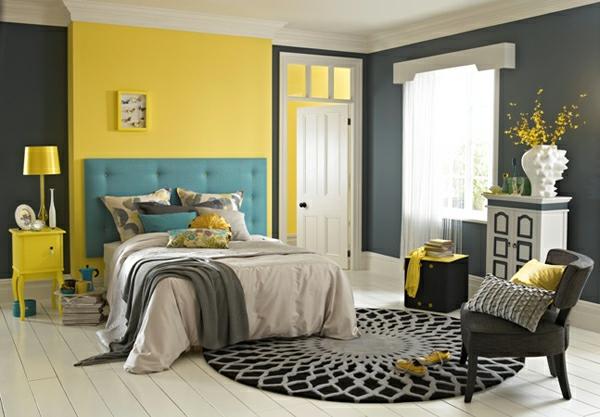 Wohnzimmer Grau Blau Gelb