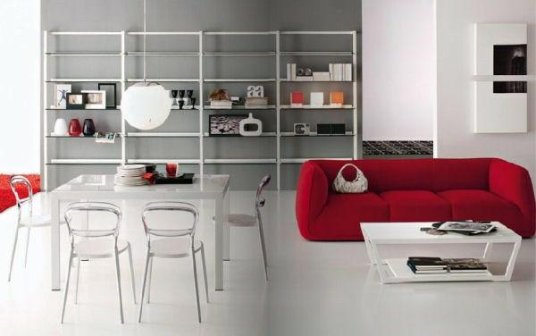 interieur design grau wand rot sofa