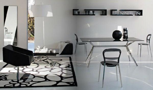 wohnzimmer rosa weiß:wohnzimmer rosa weiß : Wohnzimmer mit Essecke in Schwarz und Weiß