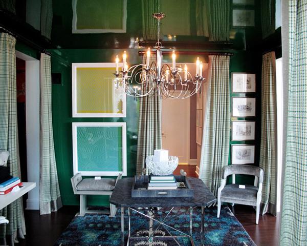 interior design in smaragdgrün aktuell wand rahmen bilder