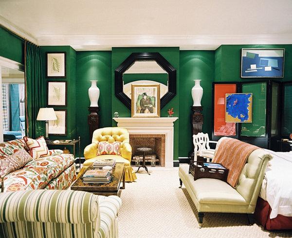 smaragd grün einrichtung wand gardinen modern einrichtung