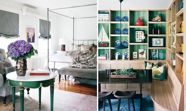 interior design in smaragdgrün wand regale tisch