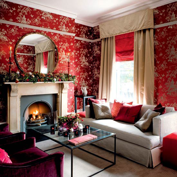 wohnzimmer creme rot:Red Living Room Ideas