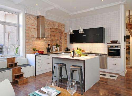 kücheninsel und halbinsel- schubladen arbeitsplatz treppe
